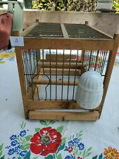 Antique Vintage Handmade Coal Miner's Wooden Canary Bird Cage With Waterer A
