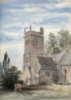 CHURCH IN LANDSCAPE - Antique Watercolour Painting - 19TH CENTURY