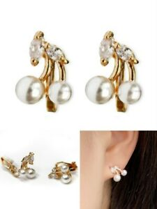 Womens Girls Faux Pearl Cherry Zircon Crystal Gold CLIP ON Earrings Stud Studs