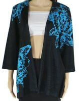 Ming Wang Womens Jacket Black Combo Size Large L Floral Open-Front $128 976
