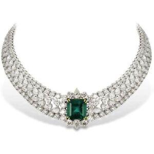 925 Sterling Silver Green Asscher Round Halo Choker Style Wedding Necklace Women