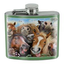 Horses Selfie Stainless Steel 5oz Hip Drink Kidney Flask