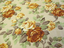 Vintage SUNFIELD BRITISH MID CENTURY Floral Fabric Curtain 1mt ROSILAND GOLD