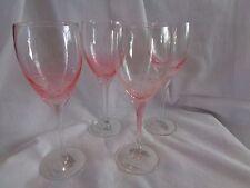 ROSCHER PINK BUBBLE DESIGN HANDBLOWN STEM STEMWARE WINE GLASSES SET OF 4 NEW