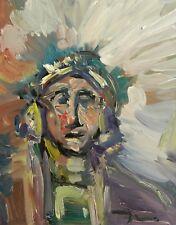 JOSE TRUJILLO OIL PAINTING 16x20 PORTRAIT MAN WESTERN SOUTHWEST AMERICAN ART NR
