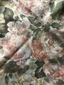 "Vintage Croscill Cotswold Sheer Shower Curtain Beige Floral 70"" x 71"" ~ Gorgeous"