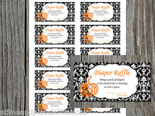 10 Black Damask Little Pumpkin Orange Boy Girl  Baby Shower Diaper Raffle Ticket