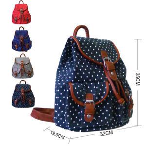 New Womens Polka Dot Print Canvas Double Pocket Backpack Girls School Bag