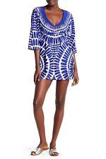60415368a989ba NWT $140 Trina Turk Algiers Tunic Blue Kimono Swimsuit Cover-Up Dress  Women's L
