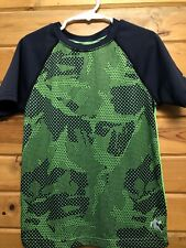 Andi 4/5 Boys Shirt Short Sleeves Camouflage Navy & Green Kids Play Gym School