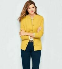 TALBOTS Womens Size Petites P Sweater Cardigan Top Button Military Yellow Wool