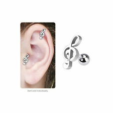 Music Note Cartilage Tragus Ear Stud Earring 16g 6mm