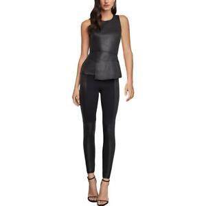 BCBGMAXAZRIA Womens Black Faux Leather Pull On High Rise Leggings S BHFO 9749