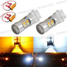 2x 20W Amber White 3157 Bulbs Switchback LED DRL Turn Signal Tail Brake Canbus