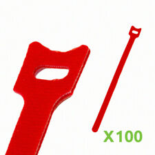 New listing 10 Inch Hook and Loop Reusable Strap Cable Cord Wire Ties 100 Pack Red