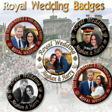 PRINCE HARRY~MEGHAN MARKLE 5 X PIN BACK BUTTONS~ ROYAL WEDDING SOUVENIR ~2.2""