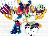 6 Vintage Handmade Sequined NATIVITY WISEMEN Christmas Ornaments Camels Horse