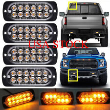 AMBER 4X 12 LED Strobe Light Bar Truck Hazard Beacon Flash Warning Emergency 12V