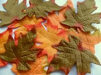 18 large thick quality Fabric Autumn Maple Leaves 3 Assorted  craft decor cake