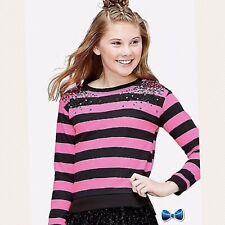 Justice Girls Size 14-16 Pink And Black Stripe Sequin Shoulder Sweatshirt NWT