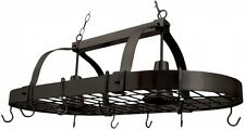 Hanging Kitchen Pot Rack Light w/ Hooks Oil Rubbed Bronze Brown Ceiling Fixture