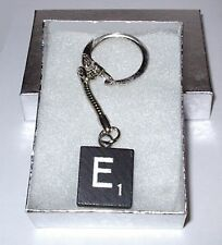 """E"" BLACK  SCRABBLE WOOD TILE KEY CHAIN  RING  KEYCHAIN"