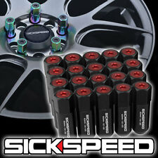 SICKSPEED 20 PC BLACK/RED CAPPED ALUMINUM EXTENDED 60MM LUG NUTS 1/2x20 L22