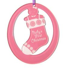Personalized Laser-Engraved Baby's First Christmas Ornament (Girl)- Made in USA!