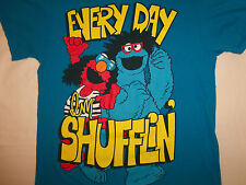 "Sesame Street Cookie Monster Elmo ""Every Day I'm Shufflin'"" Blue T Shirt - M"