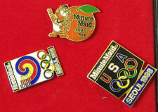 3 COLLECTIBLE ENAMEL MINUTE MAID PINS from the 1988 OLYMPICS SEOUL KOREA
