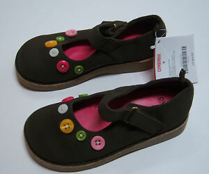 NWT Gymboree Lots of Dots Brown Button Mary Janes Shoes for about 3/3T-4/4T