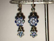 Michal Negrin Blue Crystal Flower Dangle Earrings