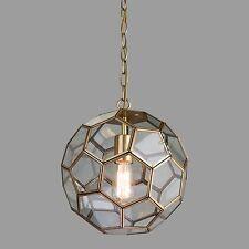 Neptune chaîne pendentif plafond-lumière laiton antique & Clear hexagonal en verre