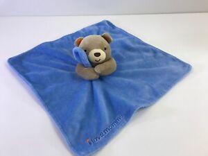 Magic Years Plush Lovey I Love Mommy Blue Blanket Brown Bear Orange Ear
