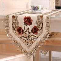Embroidered Hollow Flower Vintage Table Runner Rustic Home Wedding Party Decor