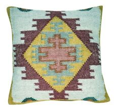 Handwoven Kilim Cushion Cover 18x18 Decorative  Square Pillow Cases