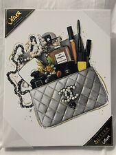 Oliver Gal Chanel Silver Quilted Bag And Accessories Canvas Art 11 x 14