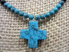 Stunning Blue Turquoise Color Black Onyx Beaded Cross Necklace/Pendant 24 IN=16g