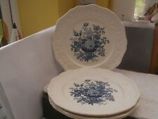 FOUR BLUE AND WHITE  MASONS IRONSTONE DINNER PLATES IN ASCOT PATTERN