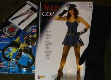 Forum Sexy Cop Costume LOT-Hottie Police fishnets,Handcuffs,Gloves+ Women  XS/S