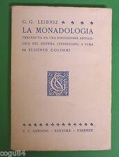 G. G. Leibniz - La Monadologia - 1^Ed Sansoni 1963 - Filosofia