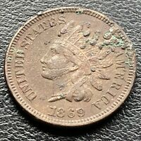 1869 Indian Head Cent One Penny High Grade XF - AU Det. #22692