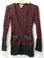Gothic Goth Button Up Low Cut Ribbed Sweater Studded Pockets sz Large