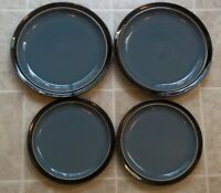 DENBY DUETS BLUE AND  BLACK   4 PIECES   2 DINNER AND 2 SALAD PLATES