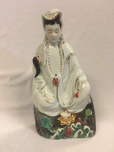 Antique 19th Century Porcelain Figure of a Seated Deity 23cm