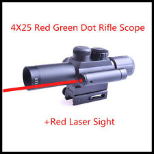 New Style 4X25 Red Green Dual Illuminated Sighting With Red Laser Rifle Scope