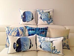 Marine Creature Fish Ocean Sea Blue Cotton Pillow Case Cushion Cover Sofa Decor