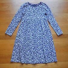 LANDS END Girls 100% Cotton Knit Dress PlayDress Purple Floral LS Size 8