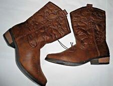 Arizona Cowboy Cowgirl Western boots 3 M Youth girls brown soft New  3/4 zipper
