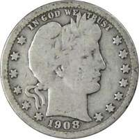 1908 Barber Quarter 90% Silver 25c US Type Coin Collectible